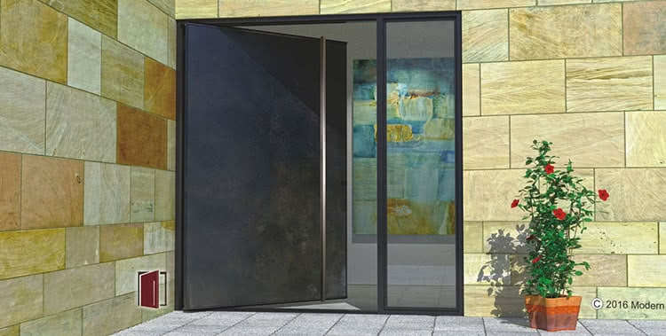 contemporary front door made of metal and square brushed stainless door handles with sidelight
