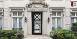 transitional single front door made of glass and metal with custom door handles
